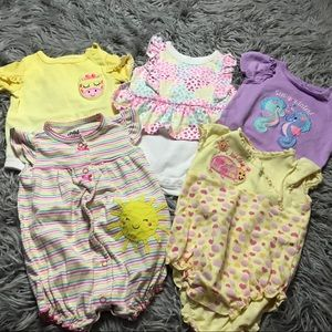 Baby girl fashion onesies - lot of 5
